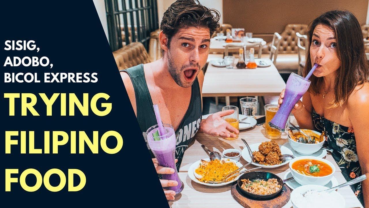 INCREDIBLE FILIPINO FOOD - TRYING SISIG, ADOBO, BICOL EXPRESS AND SINIGANG IN MANILA - FOOD VLOG
