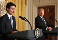 Trudeau reacts to Trump's travel ban during a joint conference