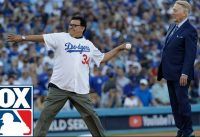 Vin Scully, Fernando Valenzuela throw out 1st pitch before Game 2   2017 MLB Playoffs   FOX MLB