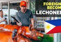 Foreigner becomes a LECHONERO in Manila   Filipino Food Vlog Lechon