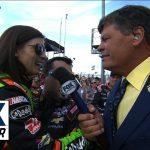 Danica Patrick Gets a 'Lift' on Michael Waltrip's Grid Walk at Kansas - 2014 NASCAR Sprint Cup