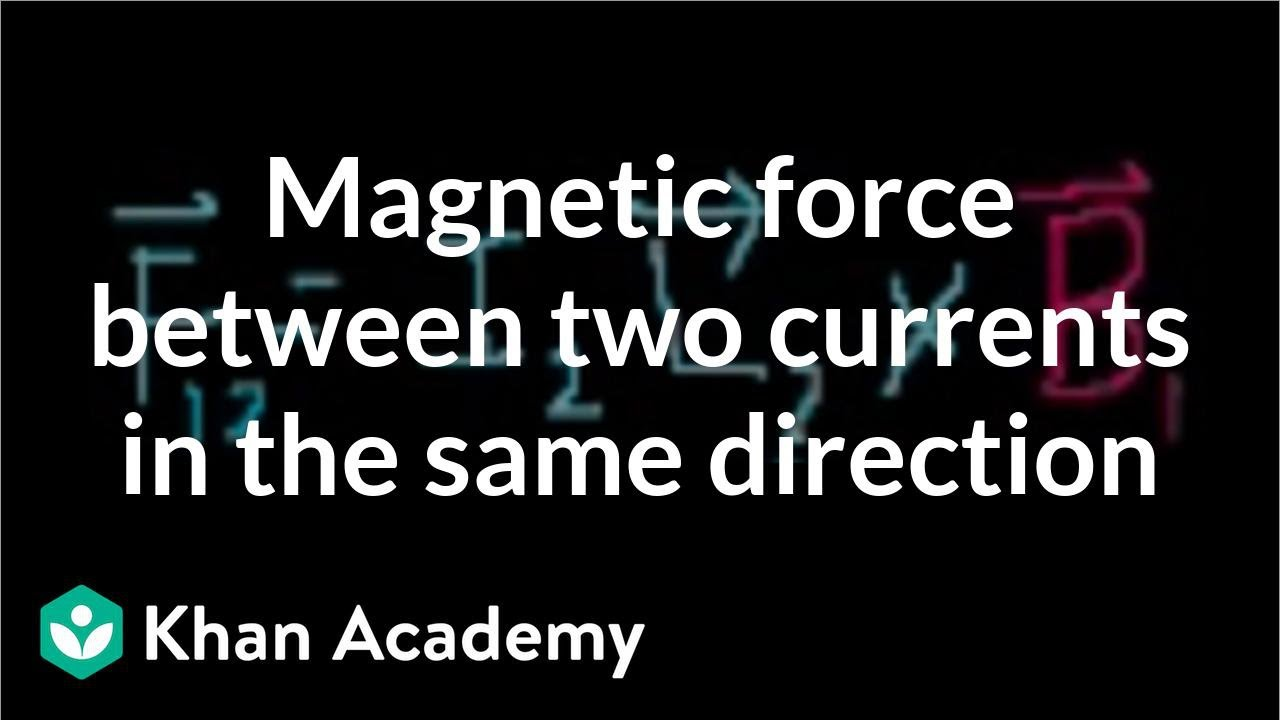 Magnetic force between two currents going in the same direction   Khan Academy